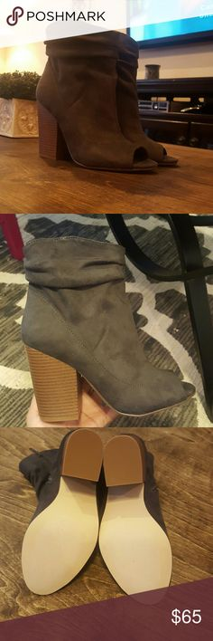 Indigo Rd peep toe booties New never used just to model the heel is 4 In fits like an 8    the color is gray its a dark gray looks more like the last picture will try to include box if it fits ask questions before purchasing no returns Indigo Rd Shoes Ankle Boots & Booties
