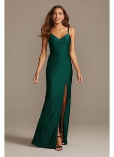 Emerald green satin slip dress (affiliate link) #dresses #greendress #emeraldgreen #weddingideas #weddinginspo #weddingfashion #bridesmaiddress Halter Gown, Chiffon Gown, Crepe Dress, Satin Dresses, Nice Dresses, Gowns, Green Satin Dress, Churidar, Davids Bridal