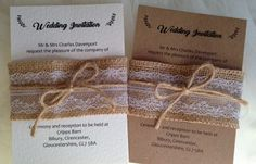 Burlap and Lace Wedding Invitations £2.75 each