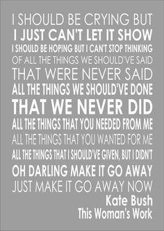 This Woman s Work - Kate Bush - Word Typography Words Song Lyric Lyrics Art Wall