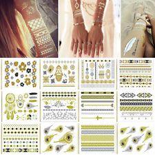 Beaty Temporary Flash Tattoos Inspired Body Makeup Sticker Gold Silver Temporary
