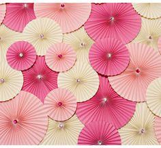 Pink Decor Paper Wheel Fan Flowers Background / Backdrop for Weddings, Accordion Flowers, Pin Wheels, Bridal Shower