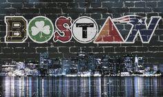 Boston Dark Skyline Sports Street x Stick to virtually any surface - including ceilings, bricks, & concrete. Printed on self-adhesive re Boston Strong, Boston Bruins, Boston Red Sox, Boston Tattoo, Boston Skyline, Go Pats, Pittsburgh Penguins Hockey, Boston Sports, Chicago Cubs Logo