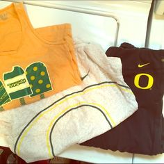 Oregon Ducks Bundle Nike Dry Fit Yoga Pants - juniors XL stretch and fit up to adult M, Nike Dry Fit O T shirt Womens Small and a Oregon Popsicle Tank Youth Medium. EUC - I do bundle deals, if you don't like my prices make me an offer, I also Love to Trade! Nike Tops