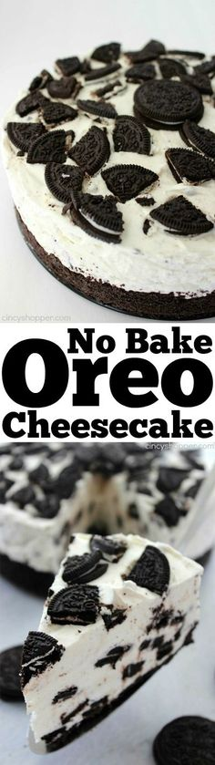 No Bake Oreo Cheesecake- looks and tastes like it could be on the menu of a high end restaurant. Super simple with no baking involved. Bake Oreo Cheesecake- looks and tastes like it could be on the menu of a high end restaurant. Super simple with no bakin Yummy Treats, Sweet Treats, Yummy Food, Oreo Torta, No Bake Oreo Cheesecake, Pumpkin Cheesecake, Slow Cooker Desserts, Easy Desserts, Cheesecake Desserts