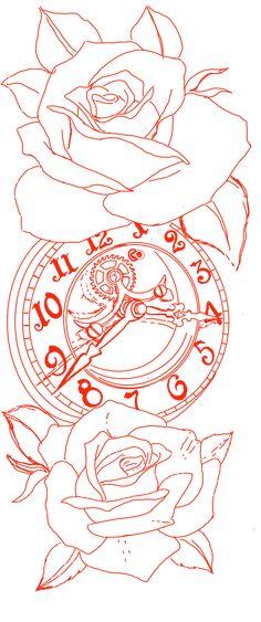 Tattoo Lettering Design, Clock Tattoo Design, Armband Tattoo Design, Lion Tattoo Design, Rose Drawing Tattoo, Flower Tattoo Drawings, Tattoo Design Drawings, Tattoo Sketches, Half Sleeve Tattoo Stencils