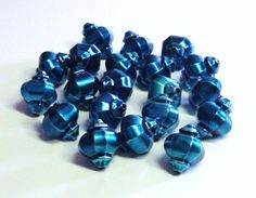 Dark Teal Blue Lantern Shaped Glass Beads by BeadsFromHaven, $1.60