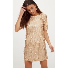 Gold Sequin T Shirt Dress (£35) ❤ liked on Polyvore featuring dresses, yellow, yellow cocktail dress, beige cocktail dress, t shirt dress, sequin dress and gold cocktail dress