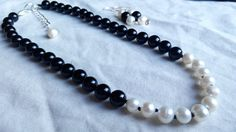 handknotted genuine pearl necklace and earring by terramor on Etsy