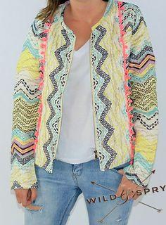 Ethnic Jacket Pompom Multicolor