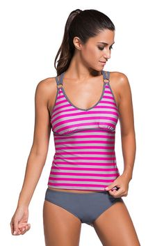 Aleumdr Women's Tankini Swimsuit Striped Strappy 2pcs Rosy Grey Large. Top quality sporty tankini swimwear for women. Strappy swim top not only fashionable but also adjustable. Matching swim bottom with full-coverage rear for comfortable fit. Stylish two-piece swimsuit with conserved yet so sporty design wins popularity. Package Contents: 1 X Set ( Top & Bottom ).