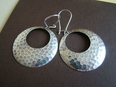 Hoops  hammered  antiqued silver hoops with sterling by ILoveJeans $14