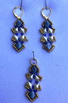 These earrings are like the ones I posted earlier today. But instead of Minos Par Puca, used 3mm crystals. I decided to add some points to the design, as well. They look so different! I think perhaps 8/0 seed beads could be used, as well. I do love the Minos Par Puca; but don't have too many different colors right now.