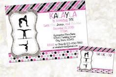 Gymnastics Digital Invitation  Pink Silver by NanasPartyPrintables