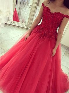 Princess Watermelon Prom Dress/Quinceanera Dress - Off Shoulder Beaded Lace-up Back