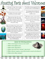 printable volcano fact sheet | All these worksheets and activities for teaching Volcanoes have been ...