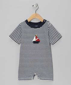 Take a look at this Navy & White Stripe Sailboat Romper - Infant by Beehave on #zulily today!