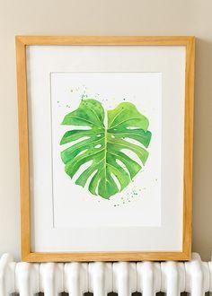 Monstera Leaf - Watercolor Print - Cheese Plant Leaf