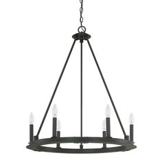 Off Pearson Black Iron Six Light Chandelier by Capital Lighting Fixture Company. Black Iron Six Light Minimalist Chandelier @ Chain Length: 10 Feet @ Wire Length: 15 Feet @ Canopy Width: Inch @ Bulbs Not Included Black Iron Chandelier, Wagon Wheel Chandelier, Iron Chandeliers, Candle Chandelier, Candelabra Bulbs, Chandelier Lighting, Circular Chandelier, Entry Chandelier, Chandelier Chain