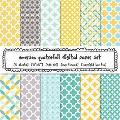 digital paper quatrefoil trellis patterns yellow gray by huetoo, $5.00