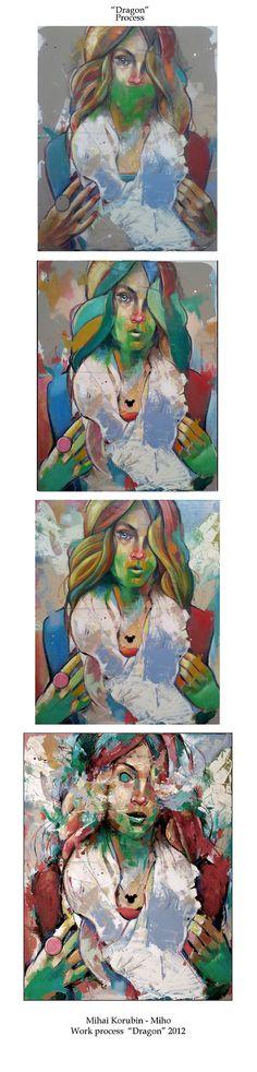 "Mihail -Miho- Korubin ; Oil, 2012, Painting ""Dragon"" #art #Figurative #paintings #figures #faces #portraits #hands #korubin #mihail #oil #canvas"