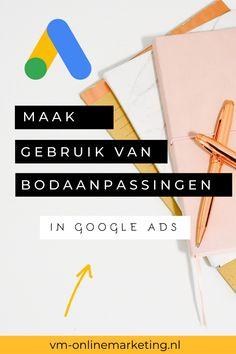 Wat zijn bodaanpassingen in Google Ads en hoe stel ik ze in? Lees de blogpost over deze Google Ads tip. Stel, Google Ads, Online Marketing, Van, Tips, Vans, Counseling, Vans Outfit
