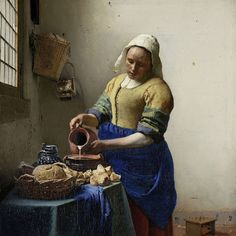 Johannes Vermeer The Milkmaid, , Rijksmuseum, Amsterdam. Read more about the symbolism and interpretation of The Milkmaid by Johannes Vermeer. Johannes Vermeer, The Milkmaid Vermeer, Vermeer Paintings, Oil Paintings, Rembrandt Paintings, Famous Artists Paintings, Popular Paintings, Famous Portraits, Art History