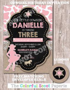 Cowgirl Birthday Invitation, Cowgirl Birthday Invite, Cowgirl Birthday Party, Shabby Chic Cow Girl (#398)