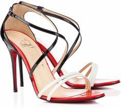 Christian Louboutin: Gwynitta Crisscross Strap Sandals in Black and White