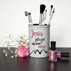 For the girl who just loves makeup! A fun and vibrant makeup brush holder that will no doubt take pride of place on her dressing table. The holder is made from solid ceramic making it perfect for brush storage which won't topple over unlike other plastic holders on the market.Fill with make up brushes, tweezers and much more!You are able to personalise the holder with a name, making this a fabulous gift for a makeup lover.