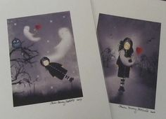"""Set of 2 Gothic Art Prints - 5x7 - """"A Girl and Her Ghost"""" Series - by Charlene Murray Zatloukal"""