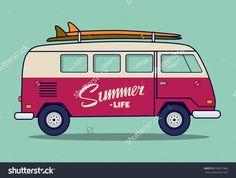 beach van illustration - Buscar con Google