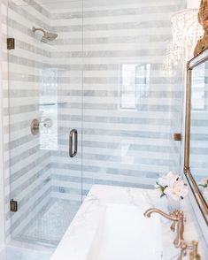 Not sure how I& never crossed paths with this striped marble bathroom from th . Not sure how I've never crossed paths with this striped marble bathroom from The Leslie Style, but thank goodness it has graced my life with…, Bathroom Renos, Bathroom Renovations, Master Bathroom, Bathroom Ideas, Shower Bathroom, Bathroom Designs, Bathroom Fixtures, Marble Bathrooms, Shower Doors