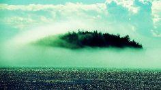 Strange Island in Fog. Hy Brasil was a legendary island off the coast of Ireland