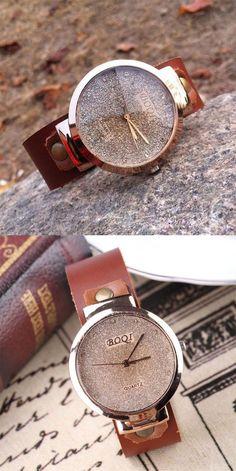 Handmade Shining Shining Rhinestone Leather Watch for big sale! #leather #watch #Handmade #retro