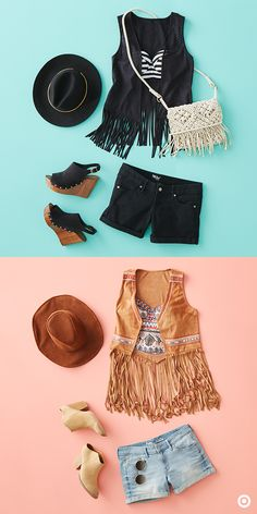 Style up your swim with these two fringe vests. Feeling edgy and classic? Take a stripe-top and black fringe vest, pairing it with black and ivory accesories. Feeling bright and upbeat? Take a boho patterned top and brown fringe vest with denim and shades of brown. Perfect outfits for festivals, beach days, warm weather outfits, etc.