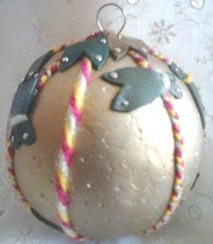 Magnifique boule de noël fait main cigales doré rouge jaune vert cuir véritable 7 cm idée cadeau made in france