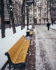 moscow, snow, snowwhite, yellow, benches Outdoor Furniture, Outdoor Decor, Benches, Moscow, Spy, Park, Yellow, Instagram Posts, Travel