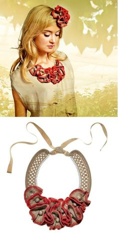 Necklace   Jessica Schröder. 'Lilly'  Gathered knitted flowers and crochet trims from 100% cotton.