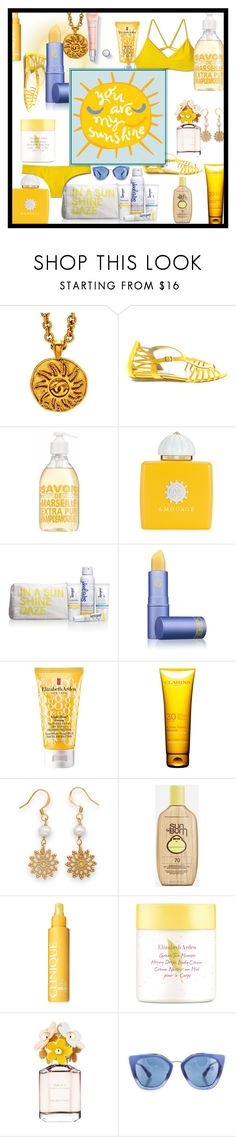 """""""In A Sunshine Daze"""" by majezy ❤ liked on Polyvore featuring beauty, Chanel, Jimmy Choo, AMOUAGE, Supergoop!, Lipstick Queen, Elizabeth Arden, Clarins, Sun Bum and Clinique"""