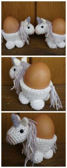 Häkelanleitung für süßen Einhorn Eierbecher/ crochet instructions for a cute unicorn egg cup made by Crotcheting-anni via DaWanda.com