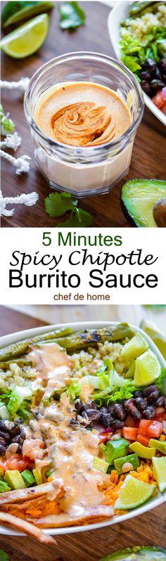 5 minutes easy Chipotle Burrito Sauce for a delish breakfast burrito bowl!! | chefdehome.com