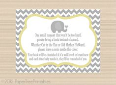 *Book Instead Of Card!* Elephant Digital Book Request Invitation By  PaperTreePrintables, $5.00. Chevron Baby ShowersElephant ...
