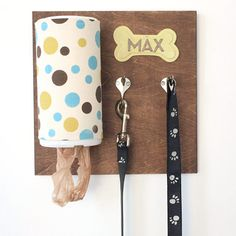 Keep everything handy with a personalized dog leash holder!