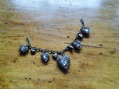 Rhinestone Heart Bracelet Antiqued Gold Clear by NeutralNellies