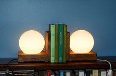 Lamp Bookends Wood Wooden Book Ends Night Light Unusual Bookshelf Library Shelf Lighting Lamps