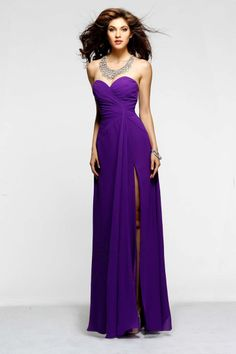 2014 New Arrival Prom Dresses A Line Long Sweetheart Chiffon With High Slit