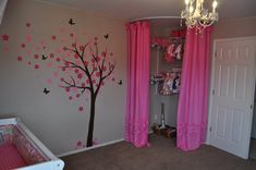 can use this for a shoe closet or Great nursery idea. Immediate walk-in closet with curtains and repurpose the closet to a fun get away spot when they are toddlers I love the curved curtain rod.... Just not this layout