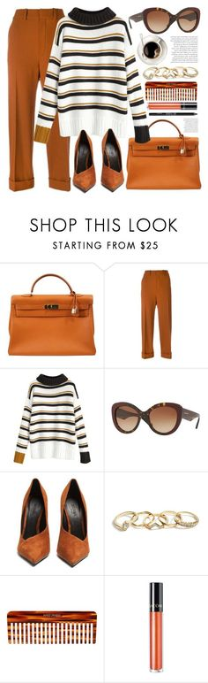 """""""Thanksgiving"""" by smartbuyglasses ❤ liked on Polyvore featuring Hermès, Chloé, Burberry, Balmain, GUESS, Mason Pearson, Lancôme, Urban Decay, orange and thanksgiving"""