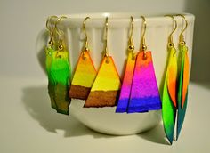 Diy Watercolor Paper Earrings · How To Make A Pair Of Paperclip Earrings · Art on Cut Out + Keep Paper Bead Jewelry, Fabric Jewelry, Clay Jewelry, Jewelry Crafts, Quilling Jewelry, Fabric Earrings, Paper Earrings, Gold Earrings, Jewelry Making Tutorials
